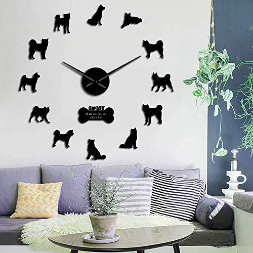 Reloj de pared Relojes de bricolaje Regalo de vacaciones Akita Inu Breed Reloj de pared Hakita Puppy Silhouette Wall Art Sticker Sin marco DIY Big Clock Reloj de pared — 37 pulgadas Negro