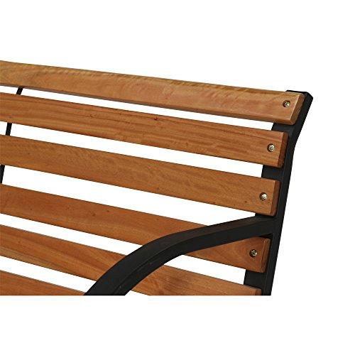 Siena Garden 2er Bank Menorca, 122x62x80cm, Gestell: Stahl, pulverbeschichtet in schwarz, Fläche: Hartholz in natur - 6