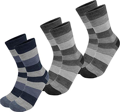 Circle Five 6 Paar Alpaka Woll Socken für Damen und Herren - leicht, weich und warm Farbe Anthrazit/Anthrazit/Marine Größe 43-46