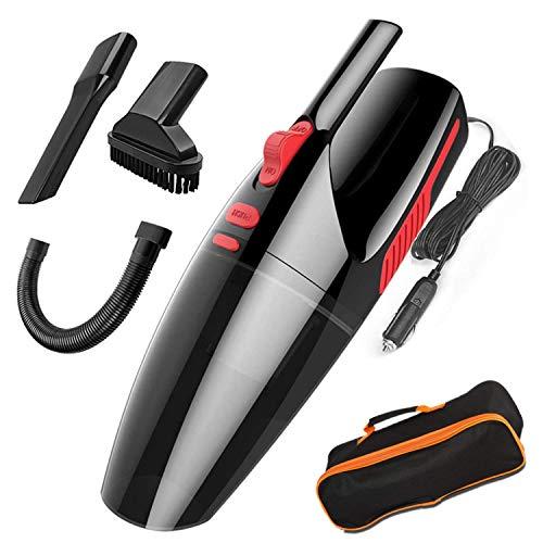 Mioke Aspirador de Mano,Coche Limpiadora Filtro HEPA,Seco/Húmedo 5000PA,120W 12V,Tecnología Ciclónica LED luz sin Ruido con Bolsa (Negro, con Cable)