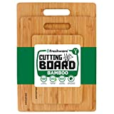 Cutting Boards for Kitchen [Bamboo, Set of 3] Eco-Friendly Wood Cutting Board for Chopping Meat, Vegetables,...