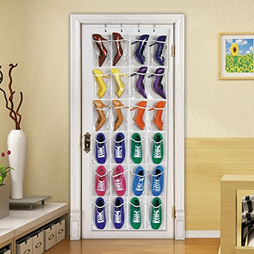 SUMCOO Hanging Over Door Shoe Storage Organizer Holder with 24 Clear Reinforced Vinyl Pocket Pouches (Clear)