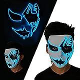 LUXACURY Halloween Partei Liefert Cosplay Maske EL Draht Leuchten Maske Party Leucht Maske Erschrecken LED Maske für Festival Parteien Halloween Make-Up Party (Blau, Leuchtmaske)