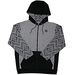 HOOEY Men's Grey Aztec Santa Fe Zip-Up Hooded Sweatshirt – Hh1155gybk
