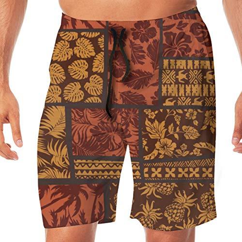 Beach Hawaiian Elements Fabric Patchwork Wallpaper Casual Swim Shorts Knee Length Swimming Trunks Quick Dry Board Shorts