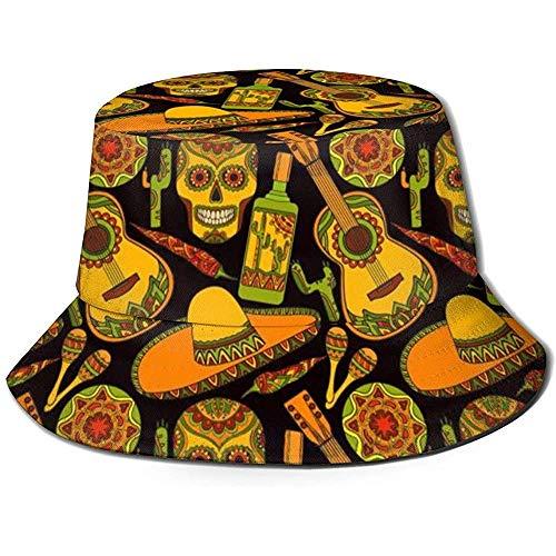 Emmer Hoed Verpakbare Omkeerbare Traditionele Mexicaanse Symbolen Print Zonnehoed Fisherman Hoed Cap Outdoor Camping Vissen Safari Unisex