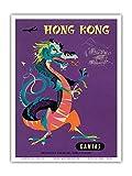 Pacifica Island Art Hong Kong–La Qantas Airways–Dragones Chinos del Tesoro–Vieja Sociedad de Vuelo Viaje Póster De Harry Rogers c.1960s–Impresión (, Weiß, 23cm x 31cm