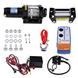 Qiilu Auto Verricelli elettrici, 4000lbs Kit di verricello di recupero elettrico ATV rimorchio camion auto 12V DC telecomando