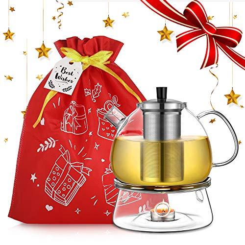 ecooe Ecooe1500ml Teekanne mit Stövchen Teebereiter Glas und Edelstahl Teewärmer Teekanne Suit (Geschenktüte & Best-Wishes-Karte inbegriffen)