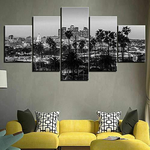 ZHANGGONG Cuadro en Lienzo 5 Pieza impresión Lienzo artística Pintura Diseño Cuadro Moderno Pared gráfica Dormitorio,Baño,Comedor Negro, Blanco, Los Angeles, Ciudad Mural Cuadro(150X80CM)