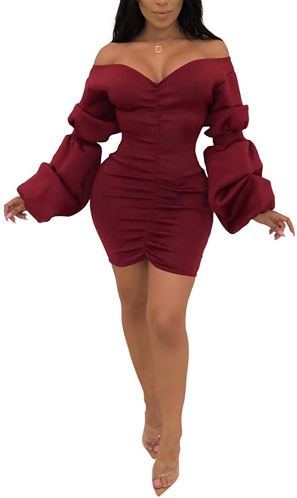 OLUOLIN Women Sexy Long Puff Sleeve Off Shoulder V Neck Solid Ruched Bodycon Mini Dress