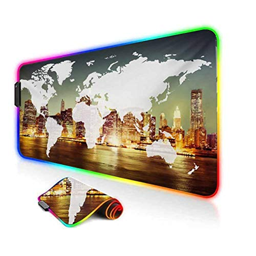 RGB Gaming Mouse Pad,World Global Cartography Globalization Earth International Concept New York City Led Mousepad with Non-Slip Rubber Base,35.6'x15.7',for Game Players,Office,Study Multicolor