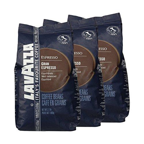 Lavazza Kaffee Gran Espresso, ganze Bohnen, Bohnenkaffee (3 x 1kg Packung)
