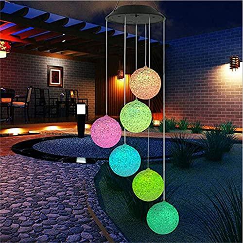 Wandskllss Led Solar Wind Chimes Luz Color Cambiante Jardín Lámpara Impermeable Decorativa Romántica para Patio Patio Jardín Bolas de Arroz