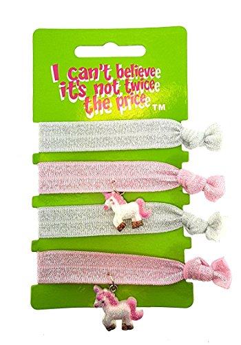 ICB - 4 Pack van Gebonden Geen Snag Haar Elastische Bands of Armbanden - 2 Met Eenhoorn Bedel - Wit en Roze