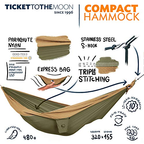 Ticket to the Moon Fair Trade & handgemachte Single/Compact Leicht-Hängematte Army...