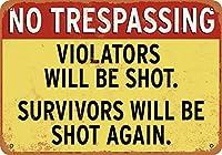2個 8 x 12 CM メタル サイン - 立ち入り禁止。違反者は射殺されます。 メタルプレート レトロ アメリカン ブリキ 看板