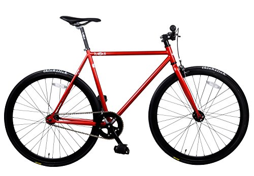 K7S Fixed Gear Fixie Bike Single Speed Road Bike (Red, 53cm/Medium)