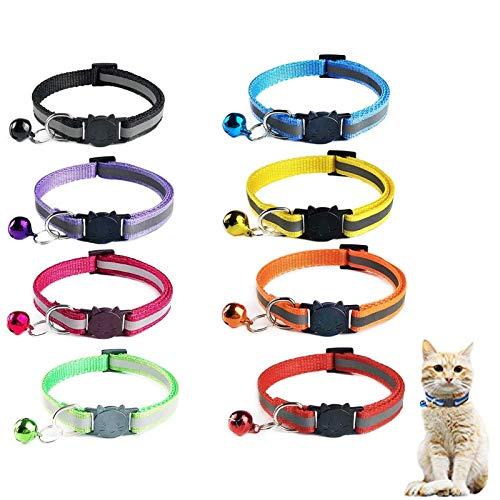 Sunshine smile katzenhalsband mit sicherheitsverschluss,Schnellverschluss Katzenhalsband,Reflektierendes Katzenhalsband,verstellbar Nylon Katzenhalsband 8 Stück
