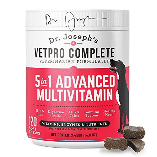 VetPro Dog Vitamins and Supplements - Pet Multivitamins with Probiotics  Glucosamine for Hip and Joint Health  Immune System Support  Allergy Meds - 5 in 1 Chewable Multivitamin for Puppy to Senior