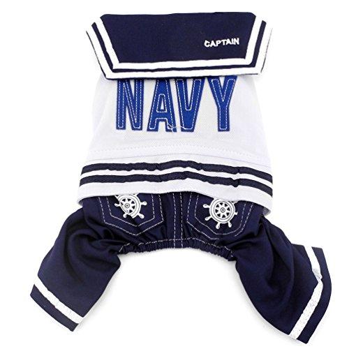 Smalllee Lucky Ranger Bleu Marine Captain Costume de Marin pour Chien Quatre Pattes Ange, Bleu, XXL