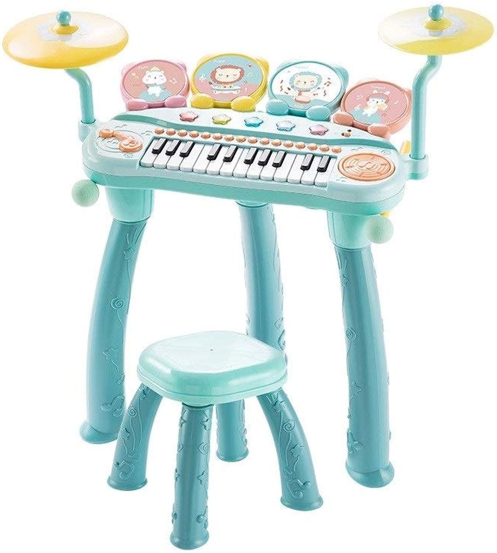 HXGL-Tastatur Kinderspielzeug Keyboard Drums Zwei In Einem Anfnger Perkussionsmusik Aufklrungsspiel Kinder über 3 Jahre Alt (Farbe   Grün)