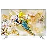 TINGTING Tv Abdeckung LCD-TV-Staubschutzhülle Computeranzeige Reiche Blumen 55 Zoll Wasserdicht Monitorabdeckungen (Color : Peacock, Size : 40inch)