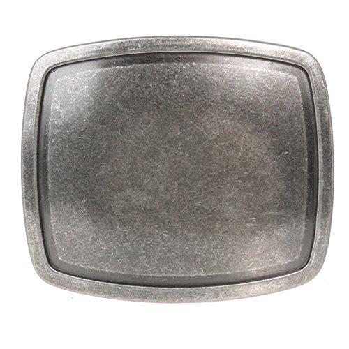 Western Plain Rectangular Hammered Vintage Belt Buckle (Antic Silver)