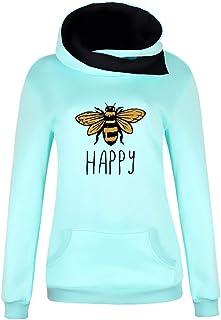 WINJUD Womens Sweatshirt Bee Print Hooded Pullover Top CowlNeck Long Sleeve Hoodies