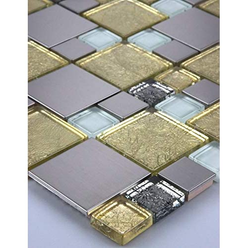 Glasmosaik Mosaikfliesen Mosaikglas Mosaik Edelstahl Weiß Silber 30x30cm