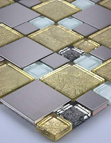 11 tappetini da 1 m² per mosaico in vetro, acciaio inox, oro, argento, bianco, 30 x 30 cm