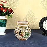Handicrafts Paradise Marble Flower Vase Enamel Peacock Hpmr15055