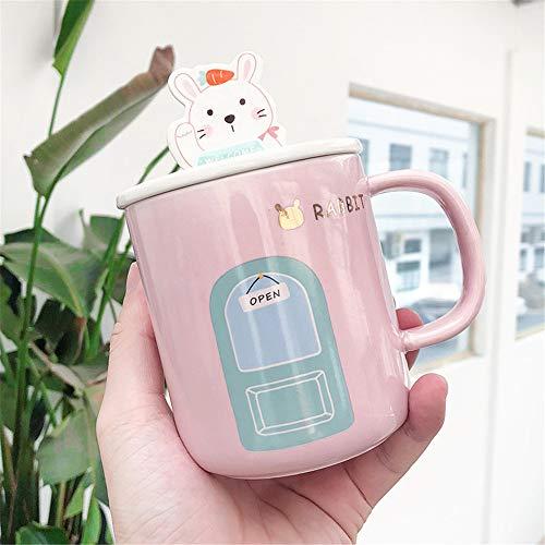 TLLW - Taza de caricatura, taza personalizada, taza divertida, diseño de animal, taza para hija, regalo de cumpleaños, para oficina en casa (400ml), porcelana, Conejo., 400 ml