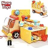 Nene Toys - Camión de Madera con Herramientas de Juguete - Juego de Construcción para Niños Niñas de 2 3 4 5 años – Juguete Educativo Infantil Que Desarrolla Habilidades Cognitivas Stem y Motrices
