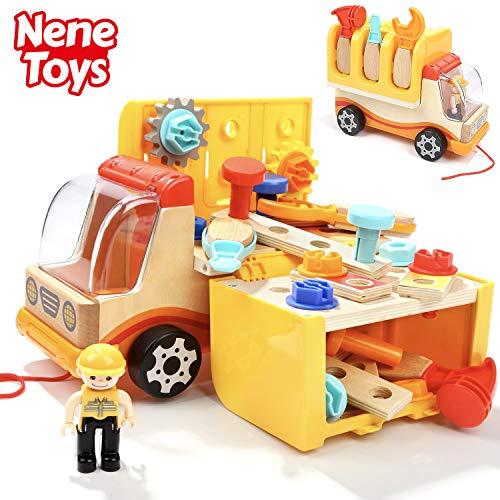 Nene Toys - Educatief Gereedschap voor Peuters 3 4 5 6 jaar oud - STEM-ontwikkeling Constructiespeelgoed met Houten Vrachtwagen en Coole Opvouwbare Werkbank - Leuk Cadeau voor Kinderen Jongens Meisjes