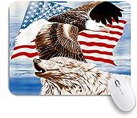 GUVICINIR マウスパッド 個性的 おしゃれ 柔軟 かわいい ゴム製裏面 ゲーミングマウスパッド PC ノートパソコン オフィス用 デスクマット 滑り止め 耐久性が良い おもしろいパターン (アメリカの国旗白頭鷲愛国心が強い鳥野生生物ファンタジー青空)