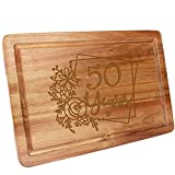 HomeLove Inc. 50th Birthday 50 Years Anniversary Ideas Engraved Wood Cutting Board Gifts for Women, Her, Mom, Dad, Husband, Wife, Friend, Cook Lover, chef