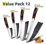 Cuchillo de cocina de 8 pulgadas profesional japonés del cocinero cuchillos 7Cr17 acero inoxidable 440C Tang completa Carne Cleaver máquina de cortar Santoku Conjunto afilado ( Color : Value pack 12 )