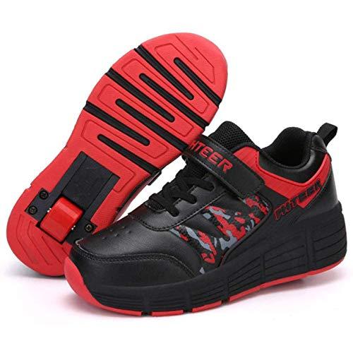 GWYX Zapatillas Deportivas con Ruedas Zapatillas De Skate De Una Sola Rueda Zapatillas con Ruedas Zapatillas De Correr Zapatillas De Entrenamiento con Ruedas con Botón Ajustable,Noir-37 EU