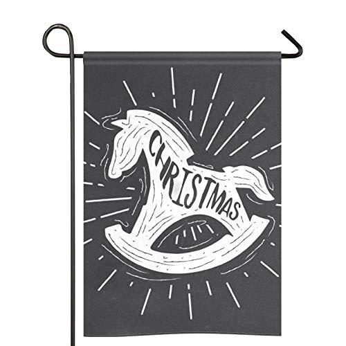 Bandera de jardín de caballo mecedora de Navidad al aire libre de doble cara de la casa de la...