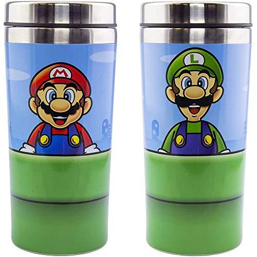 Paladone- Super Mario Taza de viaje con dibujo de tubería - capacidad de 420ml, acero inoxidable- producto oficial Nintendo