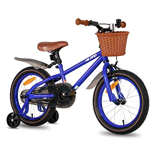 HILAND ins Star 16 Zoll Kinderfahrrad für Mädchen Jungen 3-7 Jahre mit Stützräder, Handbremse und Rücktritt blau