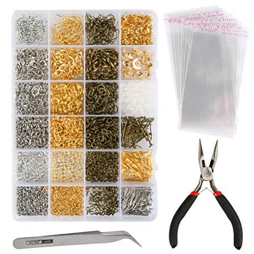 TIMESETL Kit per creazione di gioielli 3000Pcs Gioielli artigianali Bracciali fai da te Catenacci per aragosta con anelli aperti e catena per bracciale e collana per adulti e bambini