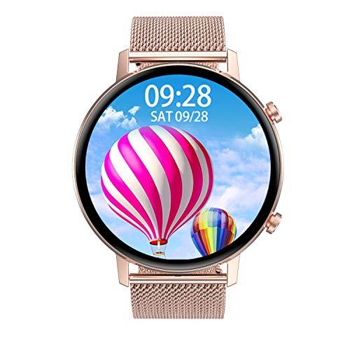Aliwisdom Smartwatch für Herren Damen Kinder, 1,3 Zoll HD Anzeigeschirm Aktivitätstracker Bluetooth Fitness Sportuhr für iOS Android, mit Anruferinnerung und Nachrichtenerinnerung (Roségold)