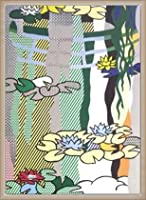ポスター ロイ リキテンスタイン 日本風の橋のある睡蓮 額装品 ウッドベーシックフレーム(オフホワイト)