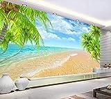 Papel Pintado Pared 3D Fotomurales Playa Cocotero Cielo Azul Mar Mural Pared Pintado Papel Tapiz Salón Dormitorio Tv Fondo Decoración De Pared 300x210cm