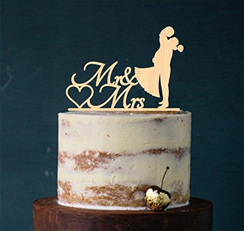 Cake Topper, Kuss, Tortenstecker, Tortefigur Acryl, Hochzeit Hochzeitstorte Kuchenaufstecker (Holz Natur) Art.Nr. 5017