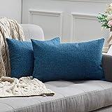 miulee confezione da 2 federe cuscini copricuscini in lino incrociato fodere cuscino decorativo per divano camera da letto12x20 pollici 30x50cm blu