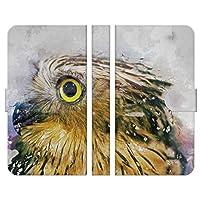 ブレインズ Galaxy A52 5G SC-53B 手帳型 スマホ ケース カバー ユーラシアワシミミズク ブレインズ フクロウ owl 水彩 コキンメフクロウ コノハズク ミミズク オウル ウォーターカラー 梟 アニマル どうぶつ