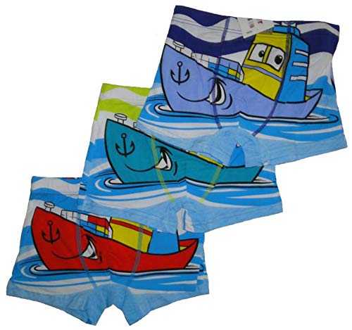 Pesail Jungen Boxershorts 3'er Set Boot Schiff Comic Motiv Kinder Unterwäsche Unterhose Set 3 Stück Slips (98/104, Mehrfarbig)